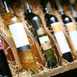 Closeup shot of wineshelf. — Foto de Stock