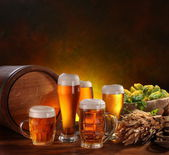 Still Life with a keg of beer — Stock Photo