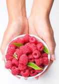 Crockery with raspberries in woman hands. — Stock Photo