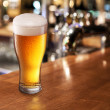 Beer glass on a bar. — Stock Photo