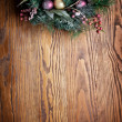 Christmas decoration with fir and baubles. — Stock Photo