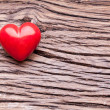 Valentines Day. Red heart on a wooden table. — Stock Photo #36984071