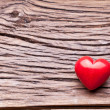 Valentines Day. Red heart on a wooden table. — Stok fotoğraf