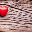 Valentines Day. Red heart on a wooden table. — Stockfoto