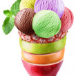 Stock Photo: Ice-cream scoops in fruity glass.