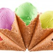 Colorful ice-creams in waffle cones. — Stock Photo