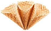 Empty ice-cream cones on a white background. — Stock Photo