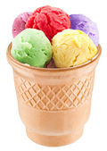 Colorful ice-creams in waffle cup. — Stock Photo