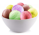 Colorful ice-cream balls in a white cup. — Stock Photo