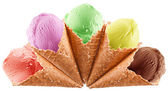 Colorful ice-creams in waffle cones. — Stock Photo