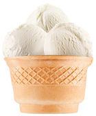 Vanilla ice-cream balls in waffle cup. — Stock Photo