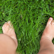 Small cute baby feet on the grass. — Stock Photo