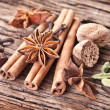 Stock Photo: Spices on old wooden table.