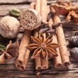 Spices on a old wooden table. — Stock Photo