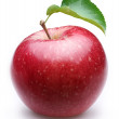 Ripe red apple with a leaf. — Stock Photo #4058882