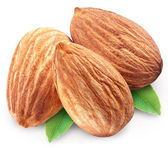 Almonds with leaves isolated. — Stock Photo
