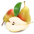 Pears with slice isolated. — Stock Photo