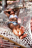 Young woman in hammock. — Stock Photo