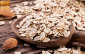 Rolled oats and nuts. — Stock Photo