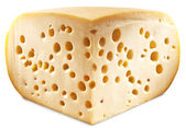 Quarter of Emmental cheese head isolated on a white background. — Stockfoto
