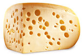Quarter of Emmental cheese head. Clipping paths. — Stok fotoğraf