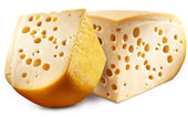 Two pieces of Emmental cheese head. — Stockfoto