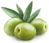 Three green olives. File contains clipping paths. — Stock Photo