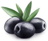 Three black olives. — Stock Photo
