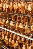 Production of smoked chicken legs.  — Stock Photo