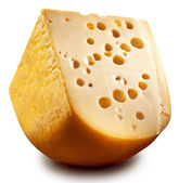 Quarter of Emmental cheese head. — Foto de Stock