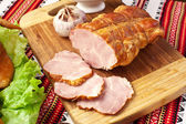 Salted boiled pork on the cutting board. — Stock Photo