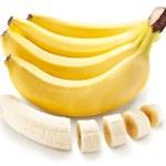 Постер, плакат: Banana fruit with banana pieces on a white background