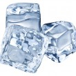 Three ice cubes on white background. — Foto Stock