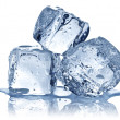 Three ice cubes on white background. — 图库照片