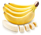 Banana fruit with banana pieces on a white background.  — Stock Photo