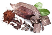 Chocolate blocks and cocoa bean. — Stock Photo
