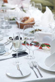 Festival table setting at the restaurant. — Stock Photo