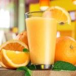 Orange fruits and glass of orange juice. — Stock Photo #51169461
