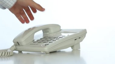 Composizione dal telefono dell'ufficio — Video Stock