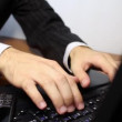Businessman typing on laptop keyboard — Видео