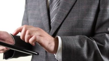 Business man holding a digital tablet — Stock Video
