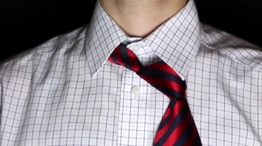 Man Necktie positioning — Vídeo Stock