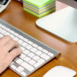 Office desk: computer typing and calculating — 图库视频影像
