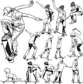 Skateboarding drawings — Stock Vector