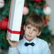 Schoolboy with gifts at Christmas tree — Stock Photo #35393099