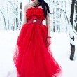 Lady in dress on snow — Stock Photo