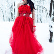 Lady in dress on snow - Stock Photo