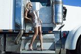 Woman near truck — Stock Photo