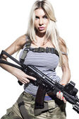 Blonde woman with a gun — Stock Photo
