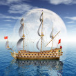 Stock Photo: Sailing Ship with Moon